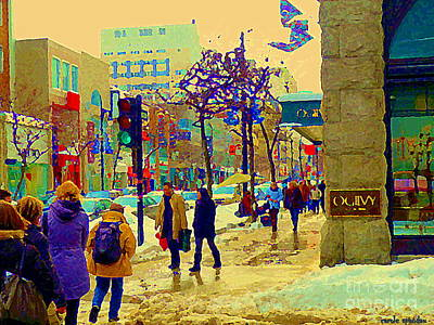 Streetscenes Painting - Warm Winter Day Shopping Rue St Catherine Ogilvys Department Store Tartan Flags Mtl Scene C Spandau by Carole Spandau