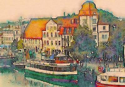 Warnemunde In Watercolor Art Print by Susan Maxwell Schmidt