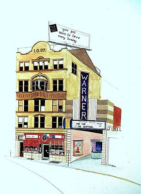 Art Print featuring the painting Warner Theater by William Renzulli