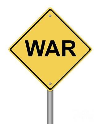 Warning Sign War Art Print by Henrik Lehnerer