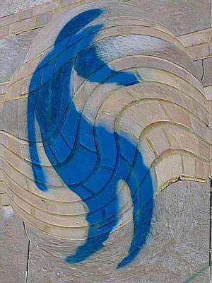 Warped Graffiti Man Blue Art Print