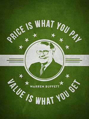 Warren Buffet - Green Art Print by Aged Pixel