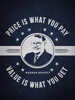 Warren Buffet - Navy Blue Art Print by Aged Pixel