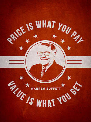 Warren Buffet - Red Print by Aged Pixel