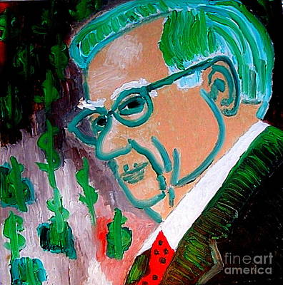 Painting - Warren Buffett Sage Of Omaha 2 by Richard W Linford