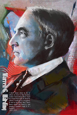 Politicians Royalty-Free and Rights-Managed Images - Warren G. Harding by Corporate Art Task Force