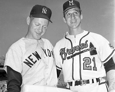 New York Mets Photograph - Warren Spahn With Whitey Ford by Retro Images Archive