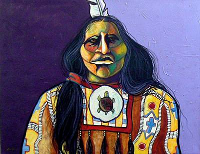 Horse Necklace Painting - Warrior Chief by Joe  Triano