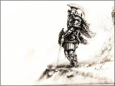 Concept Art Inks Drawing - Warrior by David Cohen