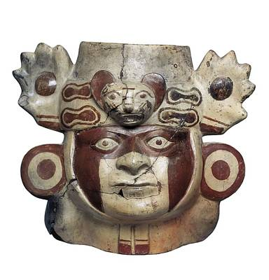 Warrior Head Shaped Vessel. Moche Or Art Print by Everett
