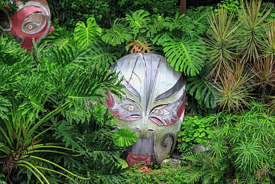 Chinese Warrior Photograph - Warrior Masks In Lush Green Tropical by Stuart Westmorland
