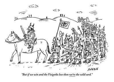 Marching Drawing - Warrior On A Horse Is Followed By An Army by David Sipress
