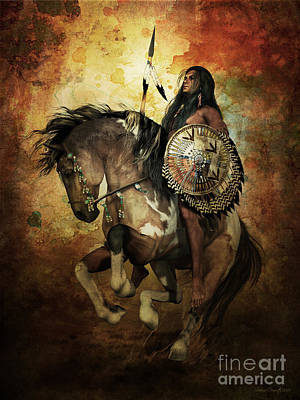 Native American Horse Digital Art - Warrior by Shanina Conway