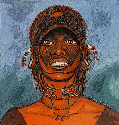 Afro American Art Drawing - Warrior by Vernon Rowlette