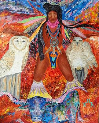 Steer Painting - Warrior Wishes by Lettie Krell