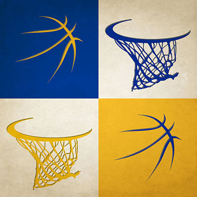 Warriors Ball And Hoop Art Print by Joe Hamilton