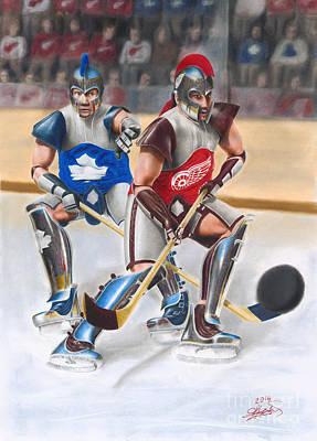 Ice Hockey Drawing - Warriors by Bretislav Stejskal