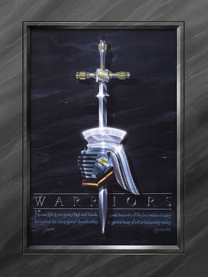 Spiritual Warrior Painting - Warriors With Faux Matte by Cliff Hawley