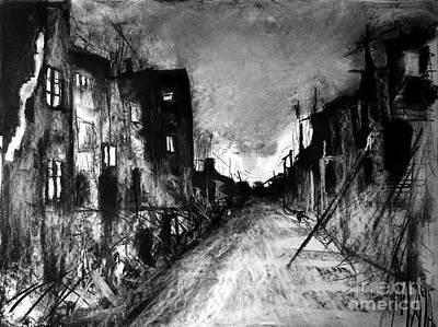 Art Print featuring the drawing Warsaw Ghetto 1945 by Maja Sokolowska