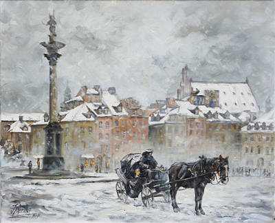 Painting - Warsaw - Old Town - Plac Zamkowy by Irek Szelag
