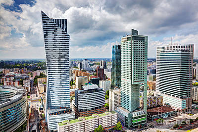 Photograph - Warsaw Poland Downtown Skyscrapers by Michal Bednarek