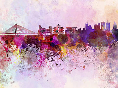 Colorful Art Digital Art - Warsaw Skyline In Watercolor Background by Pablo Romero