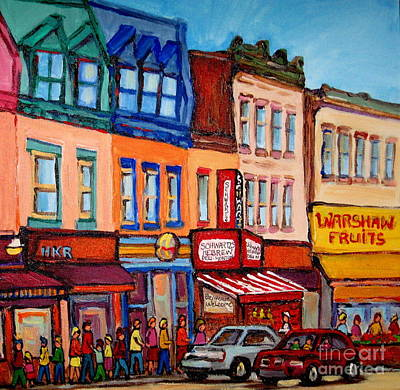 Painting - Warshaw's Bargain Fruit Market Canadian Art Vintage Montreal Paintings Jewish  Heritage Themes by Carole Spandau