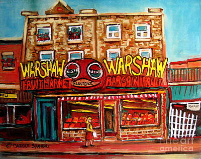 Painting - Warshaw's Bargain Fruit Store Rue St Laurent Montreal Paintings City Scene Art Carole Spandau by Carole Spandau