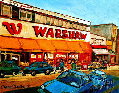 Quebec Painting - Warshaws Fruit Store Vintage Montreal City Scenes  by Carole Spandau