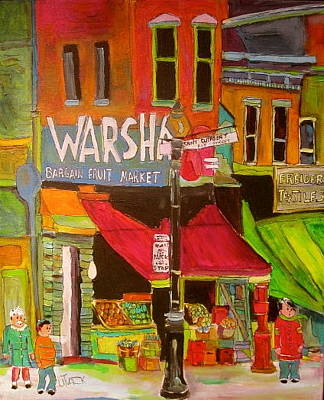 The Main Montreal Painting - Warshaw's On The Main Montreal Memories by Michael Litvack