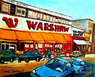 Montreal Street Life Painting - Warshaws Paintings Famous Fruit Store Main Street Montreal Art Prints Originals Commissions Cspandau by Carole Spandau
