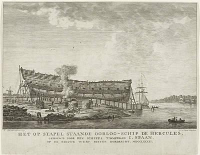 Warship Hercules, 1782, Johannes Schoenmakers Art Print by Johannes Schoenmakers And Hendrik De Haas