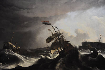Warships In A Heavy Storm Art Print