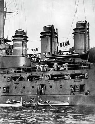 Photograph - Wartime Battleship Domestics by Underwood Archives