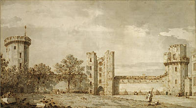 Wash Drawing - Warwick Castle The East Front From The Courtyard Canaletto by Litz Collection