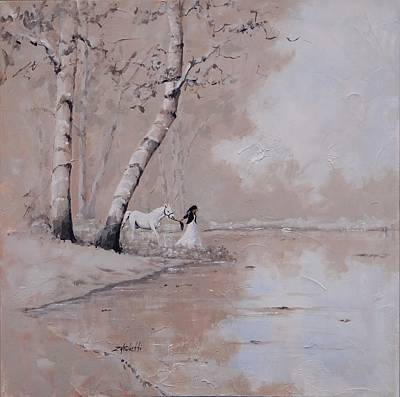 Pond Horses Painting - Was It A Dream by Laura Lee Zanghetti
