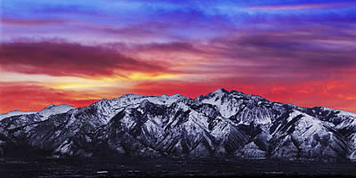 Winter Landscapes Photograph - Wasatch Sunrise 2x1 by Chad Dutson