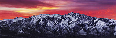 Winter Scenery Photograph - Wasatch Sunrise 3x1 by Chad Dutson