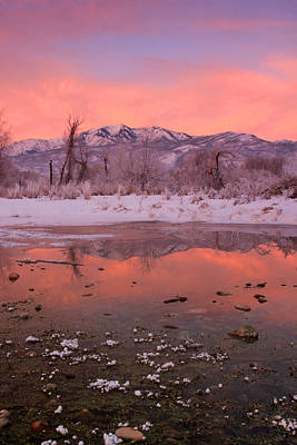 Photograph - Wasatch Sunrise Reflection by Johnny Adolphson
