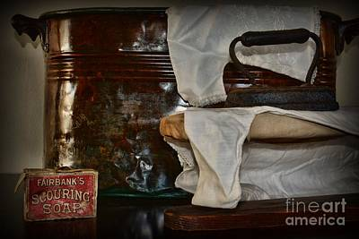 Old Fashioned Tub Photograph - Wash And Ironing Day by Paul Ward