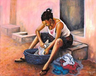 Jamaican Painting - Wash Day by Ewan  McAnuff