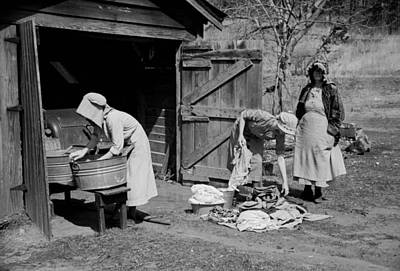 Wash Day In North Carolina 1936 Art Print by Mountain Dreams
