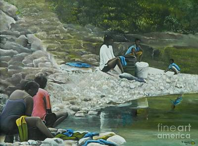 Jamaican Woman Painting - Wash Day by Kenneth Harris