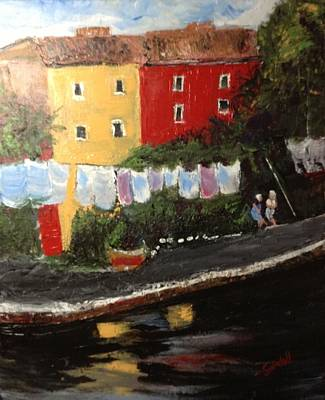 Painting - Wash Day On Torcello Island Italy by Tina Swindell