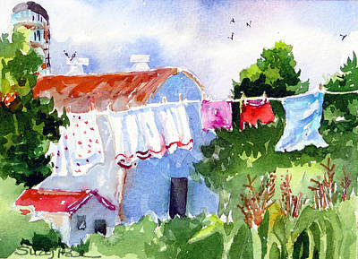 Clothes Line Painting - Wash Day by Suzy Pal Powell