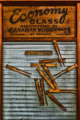 Washboard And Clothes Pins Art Print by Paul Ward