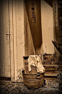 Washtub Photograph - Washboard By The Outhouse by Paul Ward
