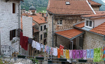 Photograph - Washday Colours - Kotor by Phil Banks