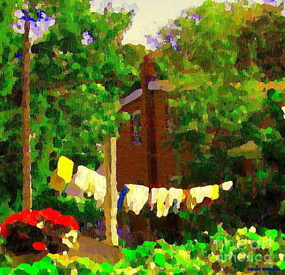 Washday Painting - Washday Hanging Clothing On The Line Cote St Luc Suburban Backyard Scene Quebec Art Carole Spandau by Carole Spandau