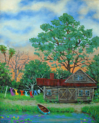 Washday Painting - Washday Sunrise by Dwain Ray